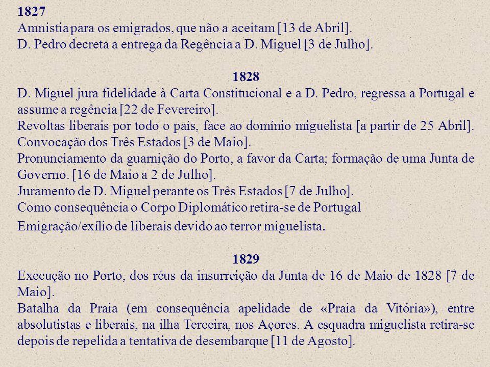 1827 Amnistia para os emigrados, que não a aceitam [13 de Abril]. D. Pedro decreta a entrega da Regência a D. Miguel [3 de Julho].